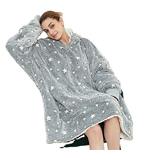 AOSEE Surdimensionné à Capuche Blanket Sweat-Shirt,Le Pull géant avec Grande Poche,Sweat à Capuche nouveauté Doux et Confortable,1 Taille s'adapte à Tous,TV Robe à Capuche (Gris)