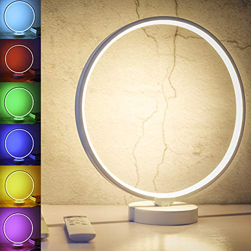 SUNY 7 Colors Dimmable Bedroom Nightstand Lamps, 6 Lighting Effect Modes LED Bedside Lamp Warm Light Modern Circle Table Lamp w/Remote Control