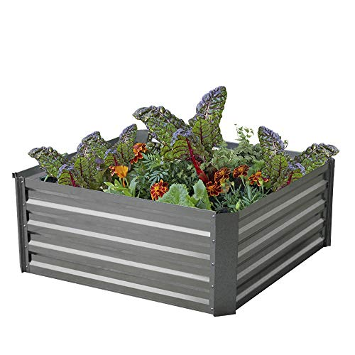 Galvanized Steel Raised Garden Bed Kit Extra Height Elevated Planter Box Steel Large Vegetable Flower Bed Kit (3FT x 3FT x 13FT)