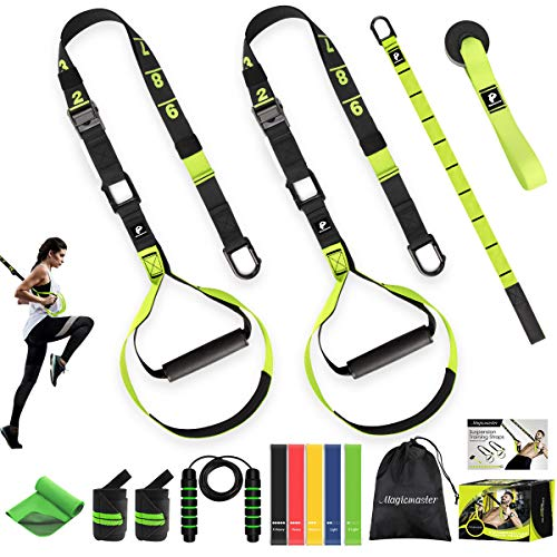 Bodyweight Resistance Training Straps Workout Trainer Kit Complete Home Gym Fitness Resistance Trainer - Door Anchor Extension Strap Exercise Loop Bands Jump Rope Cooling Towel Wrist Wraps