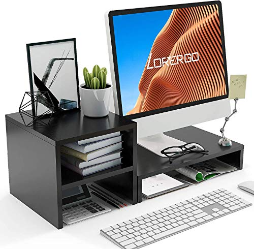 LORYERGO Monitor Stand - Monitor Stand Riser with 2 Tier Shelf, Desktop Organizer, Computer Monitor Stand for Screen, Laptop, Printer, Bookshelf for Home & Office