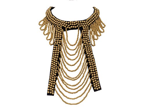 ALILANG Women's Egyptian Tribal Ethnic Bohemian Golden Beaded Bib Collar Statement Necklace