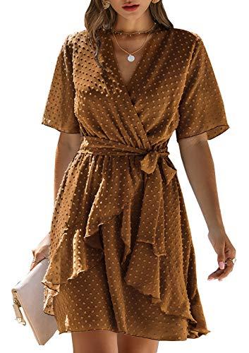 BTFBM Women Fashion Faux Wrap Swiss Dot V-Neck Short Sleeve High Waist A-Line Ruffle Hem Plain Belt Short Dress (Light Brown, XX-Large)
