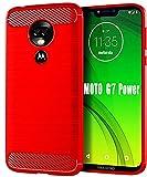 Moto G7 Power Case,Moto G7 Supra Case,HNHYGETE Soft Slim Shockproof Anti-Fingerprint Full Protective Phone Cases for Motorola Moto G7 Power 2019 (Red)