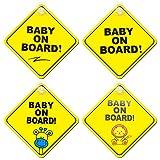 Skystuff Lot de 4 panneaux d'avertissement pour bébé à bord avec ventouses puissantes