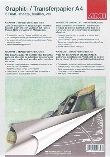 AMI Graphitpapier Transferpapier DIN A4 - 5 Blatt - Weiß - geeignet für dunkle Untergründe