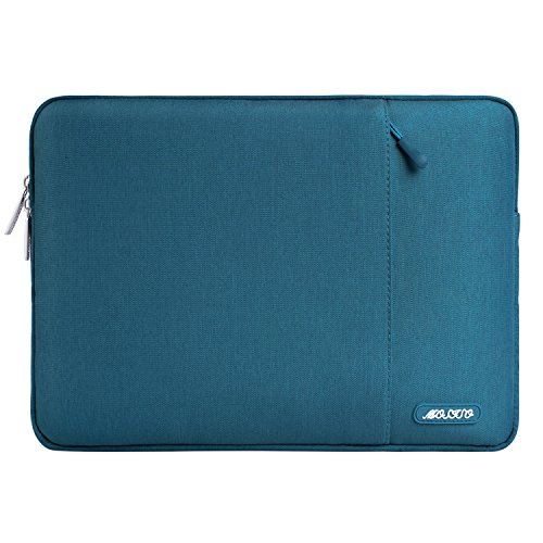 MOSISO Hülle Kompatibel mit 15 Zoll MacBook Pro Touch Bar A1990 A1707, ThinkPad X1 Yoga, 14 HP Acer Chromebook, 2019 Surface Laptop 3 15, Polyester Vertikale Stil Sleeve Hülle Laptoptasche, Deep Teal