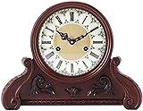 DYR Reloj de Mesa Decoración para Sala de Estar Relojes despertadores sin tictac Vintage Movimiento mecánico Retro Números Romanos Madera