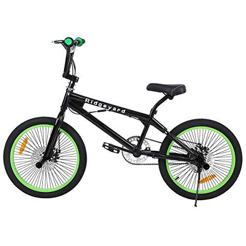 Ridgeyard Vélo BMX Freestyle 20' Rotor System 360°4 chevilles BMX Bike (Noir + Vert)