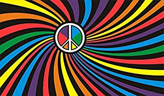 Shoe String King SSK Peace Rainbow Outdoor Flag - Large 3' x 5', Weather-Resistant Polyester