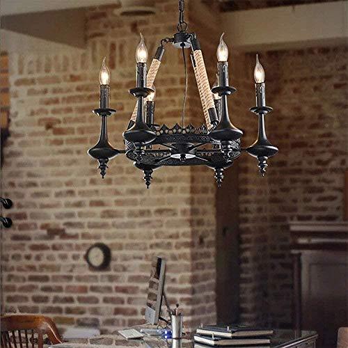 Binnenverlichting home decor touw kroonluchter, Industrial Creative Henneptouw Chandelier Bar Restaurant Cafe Verlichting van de Decoratie (6 lamphoofden)