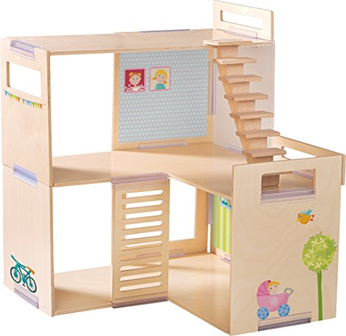 HABA Little Friends Dollhouse Villa Spring Morning - Modern and Modular with 3 Levels & Staircase