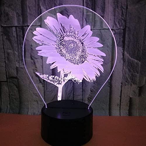 Lámpara Escritorio Lámpara de Mesa táctil Control Remoto lámpara de Cambio de Color Girasol decoración de cabecera lámpara 3D Dormitorio luz de Noche