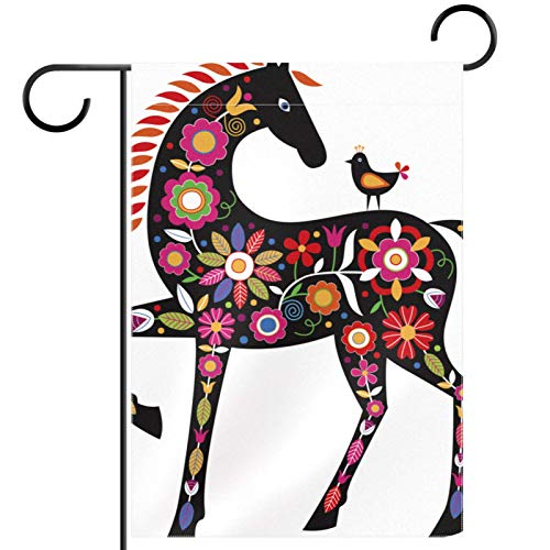 Garden Flag 12x18 inch,horse with folk ornaments,Yard Flag with Double Sided for Outside Farmhouse Patio Lawn Outdoor Home Decoration Gift