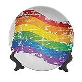 Piatto decorativo in ceramica vintage arcobaleno, 25,4 cm, motivo bandiera gay orgoglio LGBT comunità a tema antico arcobaleno strisce decorative in ceramica per tavola natalizia