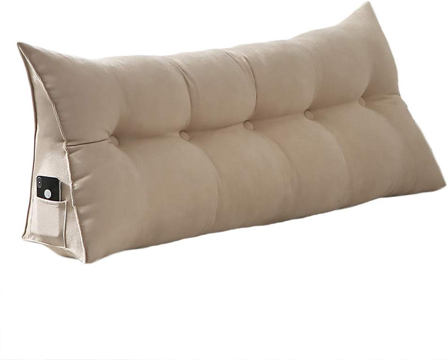 Coussin de cale triangulaire amovible pour le canapé-lit, la tête de lit, le dossier, le soucravaten de l'oreiller, le cou et le coussinet lombaire, lecture beige (taille   65  65cm)