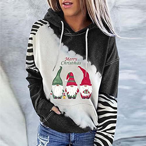 Damen Weihnachts Pullover Sweatshirt: mit Einstellbar Kordel Blusen Lässig Sweatjacke Hooded Langarmshirt Herbst Winter Kapuzenpullover Xmas Drucken Pulli