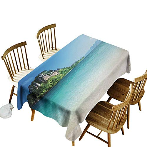 Beach Wrinkle Free Table Cover Grand Cliff in The Crystal Sea Water Tropic Island Scenery with Summer Beach Indoor Outdoor Use(Oblong) 60x104 Blue Cream Green