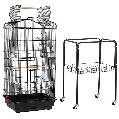 Topeakmart Open Play Top Large Parakeet Small Parrot Bird Cage with Stand for Budgies Finches Canaries Lovebirds
