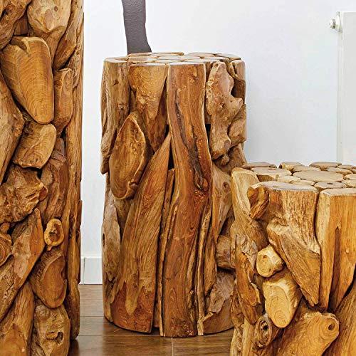Möbel Bressmer Holzsäule Blumensäule Teak Holz massiv XILON in 3 Größen | Massivholz Podest Blumenständer mit Holz-Zertifikat