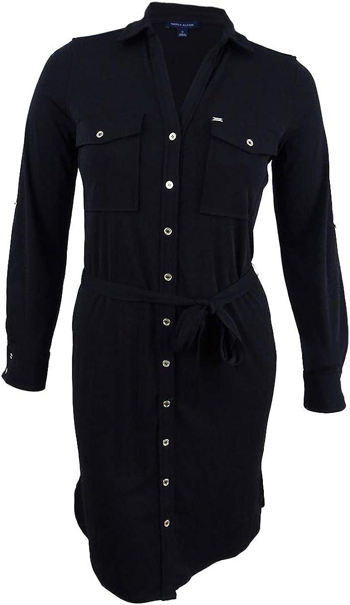 Tommy Hilfiger Women's Belted Shirtdress (10, Black)