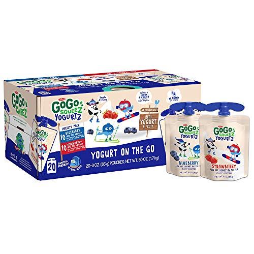 GoGo squeeZ yogurtZ Variety Pack, Blueberry, Strawberry 3 oz (20 Pouches) - Kids Snacks Made from Real Yogurt & Fruit - Pantry Friendly - No Fridge Needed - No Preservatives - Kosher - Gluten Free