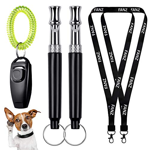 FANZ Classic Ultrasonic Dog Whistles with Clicker, Training Guide Included, 2PCS Silent Dog Whistles and 1PC Dog Clicker for Dog Training