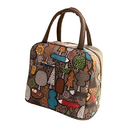 Women Waterproof Canvas Bag Portable Lunch Box Bag Reusable Lunch Tote Bag Oxford Cloth Lunch Box Tote Bag Handbag for Ladies Adults (Forest Pattern) Best Partner For Lunch