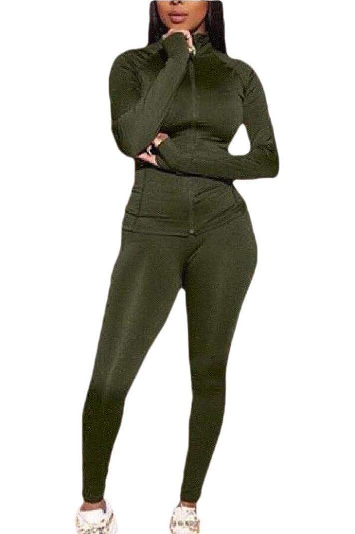おびえたほこりっぽいおしゃれじゃないWomens Fashion Regular-Fit 2 Piece Outfits Tracksuits Jacket Bodycon Pants Joggers Set