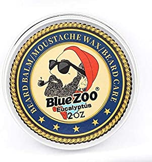 Shreeyas Blue ZOO Men Organic Beard Oil Balm Moustache Wax Styling Beeswax Moisturizing Smoothing Gentlemen Beard Care Natural Beard Balm : Eucalyptus