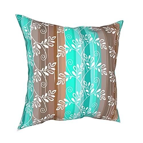 Reebos Funda de almohada de 45,7 x 45,7 cm, diseño floral marrón y turquesa con rayas, funda de cojín decorativa para sofá, silla, dormitorios