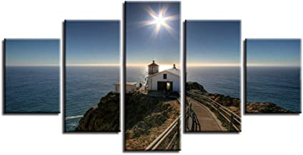 MONDFH 5 canvas paintings Modular Canvas Pictures HD Print 5 Pieces House Path Seascape Poster Shining Starfish Painting Art Decor Living Room Wall