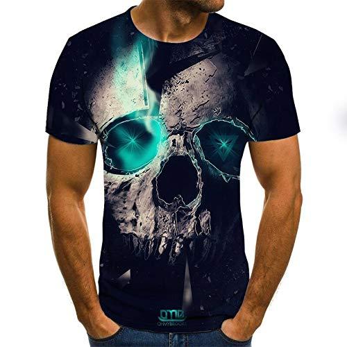 T Shirt Men Clothes Mens Summer Skull Print Men Short Sleeve T-Shirt 3D Print T Shirt Casual Breathable Funny T Shirts L Txu-1074