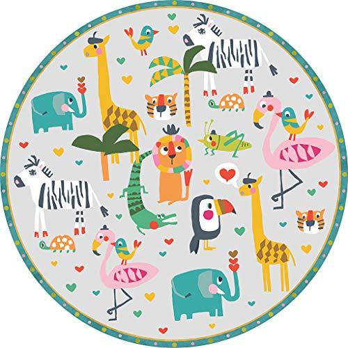 vilber Kids Selva Color 50 Alfombra Vinilo Infantil Animales Selva.3330 DU-50. Redonda. Diámetro 97 cm