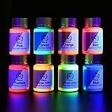 Wtrcsv UV Fluoreszierendes Pulver, UV leuchtende Pigmente, leuchtet im Dunkeln, UV-reaktives Pulver auf gefälschte Farben, Platten, Kunststoffe, Beschichtungen, DIY Handwerk etc. (8 Farben...