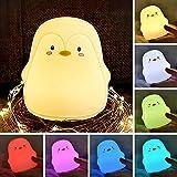 zerproc Veilleuse Bébé Lumière LED Portable en Silicone Pingouin 7 Couleurs changeant/3 Modes d'éclairage/USB Rechargeable...