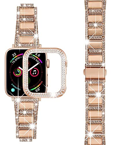 Compatible with Apple Watch Bands 38/40mm 44/42mm Diamond Rhinestone Stainless Steel Bands, for iWatch SE series 6/5/4/3/2/1, with Rhinestone Protective Cover (38mm, Rose Gold)