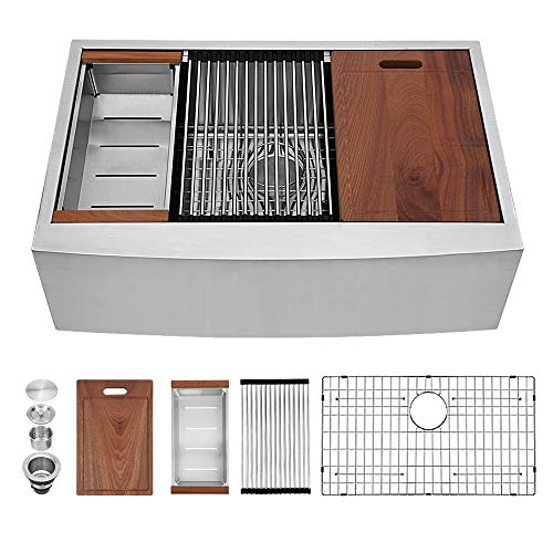 33 Farmhouse Sink - Sarlai 33 Inch Kitchen Sink Ledge Workstation Apron Front Single Bowl 16 Gauge Stainless Steel Luxury Kitchen Farm Sink