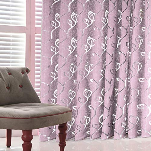 1 PCS Vines Leaves Tulle Door Window Curtain Drape Panel Sheer Scarf Valances, Home Textiles, Home & Garden (Pink)