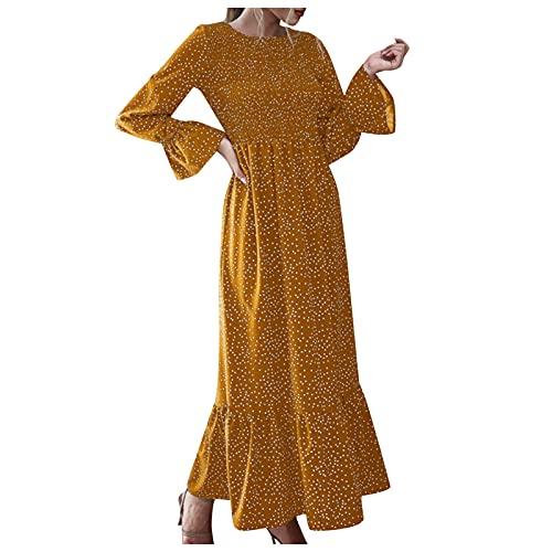 Women's Summer - Vestido de verano para mujer, de manga larga, informal, de puntos, elegante, maxivestido, túnica, cuello en V, informal, holgado, estampado, 04-amarillo, XL