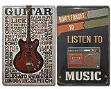 Chapas Vintage de Música | Cassette & Guitarra |. Set de 2 Carteles / Placas metálicas decorativas Retro de Musica para pared de Salón, Bar, Estudio | Tamaño 20x30.