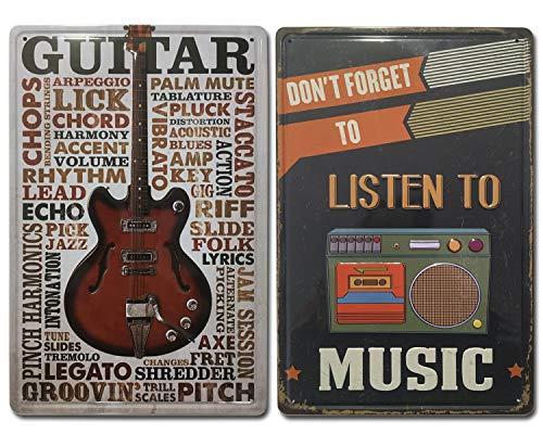 Chapas Vintage de Música | Cassette & Guitarra |. Set de 2...