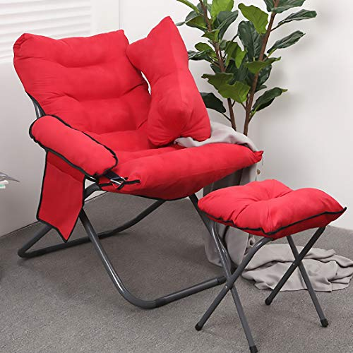 HXMSXROMIDA Tumbona Patio al Aire Libre Plegable con Bolsa Lateral Cómodo Relax Silla reclinable con reposapiés Diseño del sillón reclinable,Rojo,Chair+Footrest+Pillow