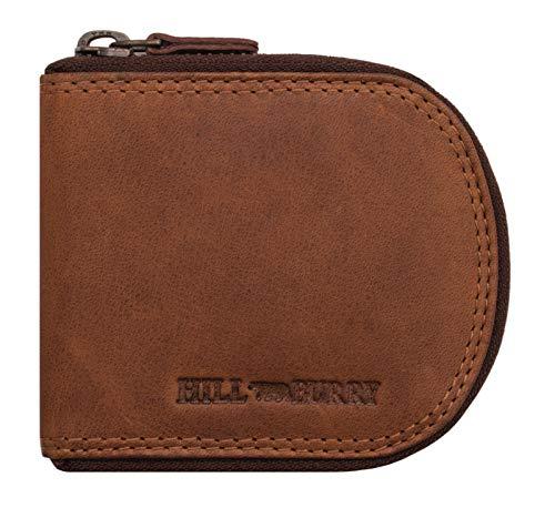 Hill Burry Echt-Leder Münzbörse - Wiener-Schachtel | Geldbörse mit Kleingeldschütte - Schüttelbörse - Kleingeldbörse | Leder Minigeldbörse - Münzen Portmonee (Braun)