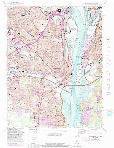 YellowMaps Alexandria VA topo map, 1:24000 Scale, 7.5 X 7.5 Minute, Historical, 1965, Updated 1989, 27.96 x 21.53 in - Paper