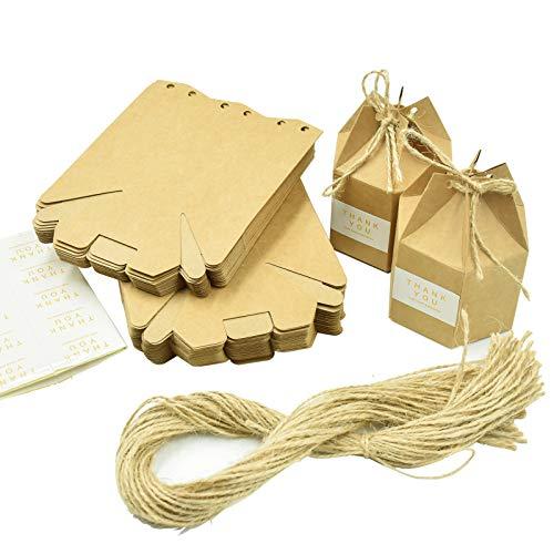 Wandefol 50 x Kraft Papier Geschenkbox Schmuck Schachtel Gastgeschenke, mit Etikette und Hanfseil, Süßigkeiten Schokolade Kartonagen Bonboniere, Box für Hochzeit Geburtstag Party Taufe