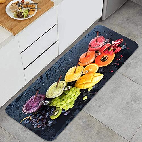 xiaolang Tappeto da Cucina Antiscivolo,Colore Fresco succhi frullato Verde Violetto,Tappetini da Cucina Design Anti Fatica Tappetini Comfort Tappetino da Cucina Resistente alle Macchie d'olio