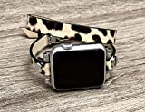 Leopard Print Vegan Leather Bracelet For Apple Watch 38mm 40mm 42mm 44mm Series 6 5 4 3 2 1 Handmade Double Wrap Women Fashion Design iWatch Band Adjustable Size Strap Smartwatch Wristband