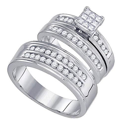 14ct White Gold His & Hers Princess Diamond Cluster Matching Bridal Wedding Ring Band Set 1.00 Cttw for Women
