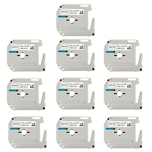 "M-K231 MK-231 MK231 M231 LaBold M Label Tape Replacement for Brother P-Touch,0.47""x 26.3 Ft (12mmx 8m),Black on White Label Tapes,Compatible with PTM95 PT90 PT70BM PT65 PT80 PT70SR PT85 etc. 10 Pack"